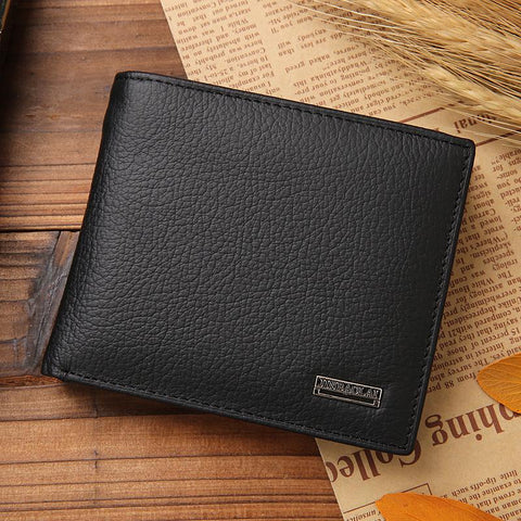 100% genuine leather mens walle premium produc real cowhide wallets for man shor black wale portefeuille homme
