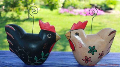Fat Chicken Hens Photo card place-card holder ornament Bali art wood Set 2