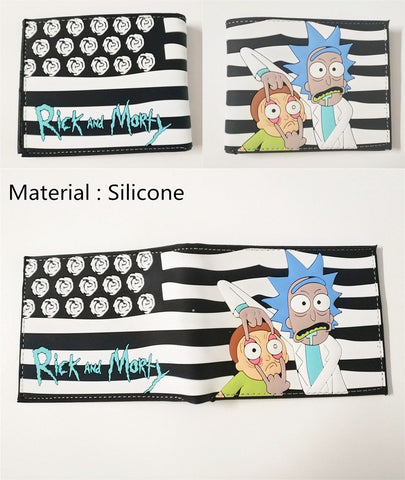 15 Type Cartoon Rick and Morty Men Bifold Walle Shor PU Coin Purse ID/Credi Cards Holder