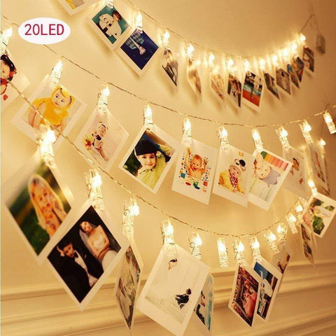 20 LED Clip Card Photo Holder String Fairy Lights Battery Christmas  Wedding