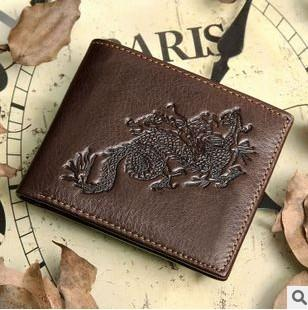 2016 new brand Genuine Leather men Wallets dragon style cowhide men's walle purse removable card holder carteira