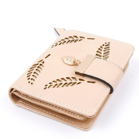 2017 Design Women's Purse Zipper Leather Ladies Luxury Brand Small Female Hollow Leaves for credit cards
