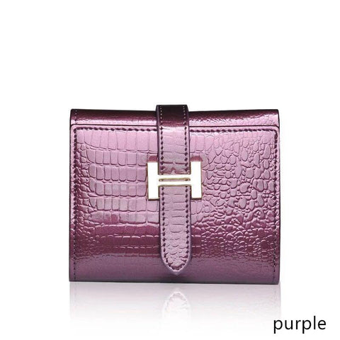 2017 Patent leather short ladies small zipper purse purse purse female crocodile leather wal