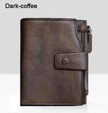 2017 Fashion Vintage Genuine Leather Walle men Walle leather men purse vertical shor money bag male walle card holder
