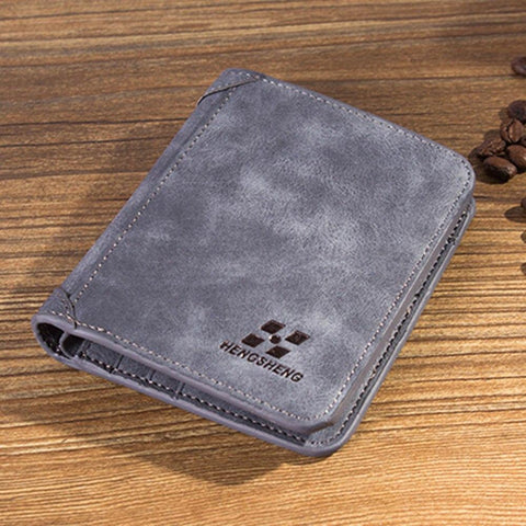 2017 HO High Quality Men Wallets Vintage PU Nubuck Skin Shor Purse Korean Luxury Famous Brand Men's Three Folds Walle For Man