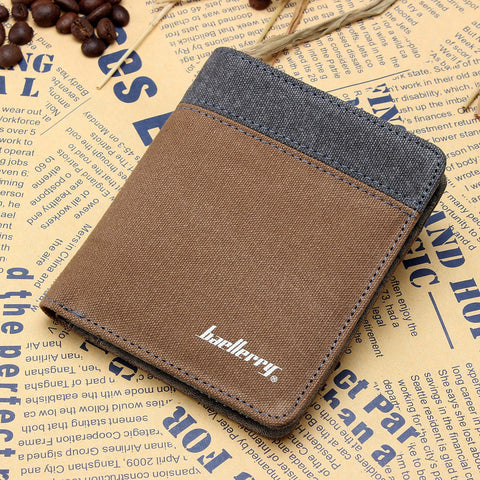 2017 New BALLERRY Man Canvas Wallets Male Purse Fashion Card Holders Small Zipper Walle New Designed Multi Pockets Purse