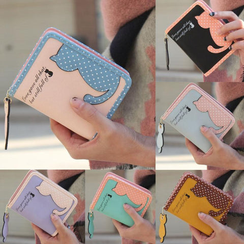 2017 New Fashion Wallets For Women cute Cat Printing Purse Long Wallet Bags PU Leather Handbags Card Holder drop shipping Nov23