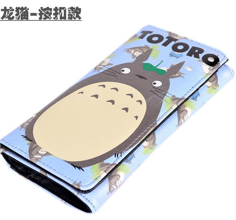 2017 New My Neighbor Totoro Kawaii Totoro Color Prin Women Long Walle with Coin Pocke Gif Studen Pu Anime Purse Clutch