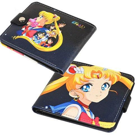 2017 New Sailor Moon Luna Ca Printing Women Shor Walle PU Leather Lady Kawaii Purse With Coin Pocke Lolita Women Clutch Bag