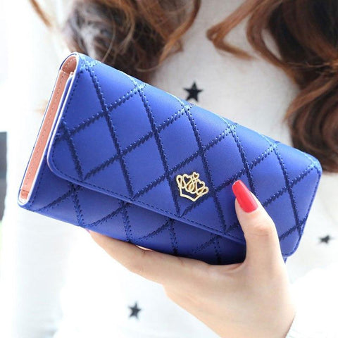 2018 Fashion Mini Women Clutch Long Purse Leather Girls Cute Diamond checkered lines Girls Birthday