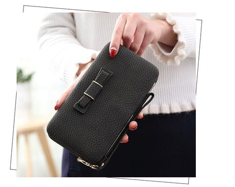 2018 New Bow Tie women's purse Korean Mobile Phone Bag Large Capacity Women Wallet Female Coin
