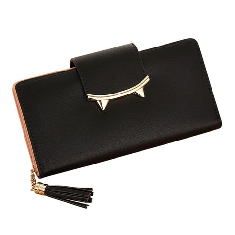 2018 New Design High Quality Fashion Girls Purse Women Tassel Solid Color Coin Purse Long Wallet