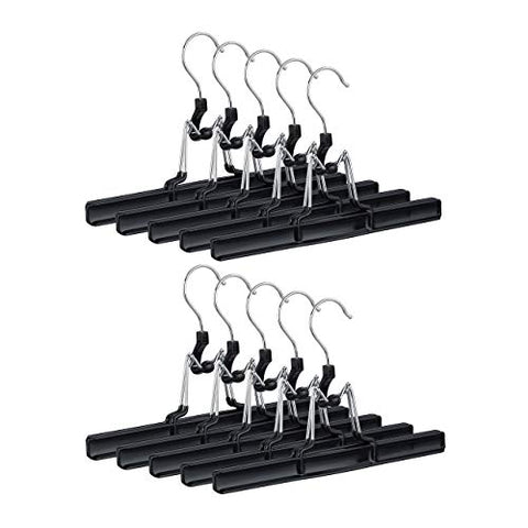 Relaxdays Metal Trouser Hangers Pack of 10, 360° Swivel Hooks, Firm Clamps, Skirt Holders, Rubberized, Black