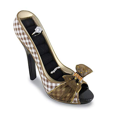 FB Jewels Solid Brown Retro Plaid Peeptoe Shoe Ring Holder
