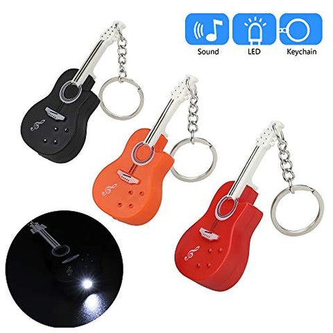 Glumes Cute Guitar Keychain with LED Flashlight and Sound Effects 3D Cute Cartoon Key Holder For Children Designer Key Ring for Kids Christmas Thanksgiving Gift 1 PCS (Red)