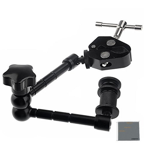 Fomito 11 inch Inch Articulating Magic Arm + Super Clamp for Camera, LCD Monitor, LED Video Light