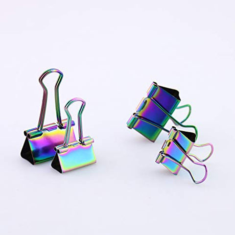 OUTU 25pcsx19mm Solid Color Metal Binder Clips Notes Letter Paper Clip Office Supplies H0134 (Rainbow S)
