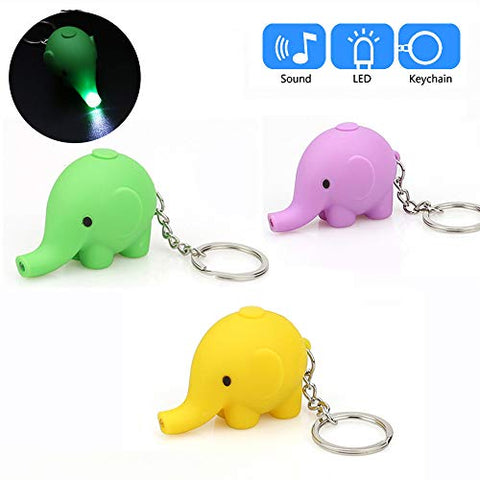Glumes Cute Animal Keychain with LED Flashlight and Sound Effects 3D Cute Cartoon Key Holder For Children Designer Key Ring for Kids Christmas Thanksgiving Gift 1 PCS (Elephant, Green)