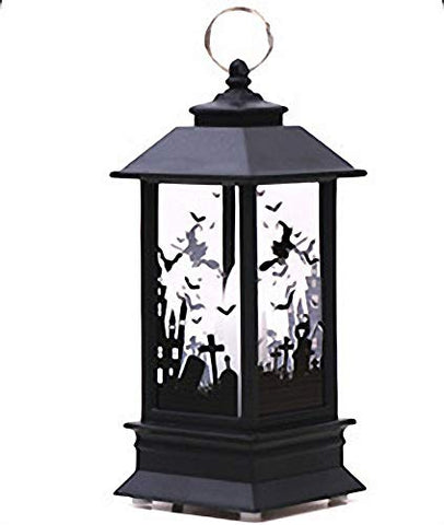 Halloween Witch Glass LED Candle Lantern Decorative Lights Street Light Broom Graveyard Cross Candle Holders Halloween Accessories Cartoon Decoration for Kids Yard Patio Table Home Decoration Black