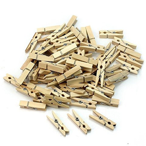 DayCount 50pcs Natural Wooden Clips, Small Mine Size 35mm Mini Tiny Clothespins Photo Paper Peg Pin Craft Clips for Photo Clips Clothespin Craft Decoration