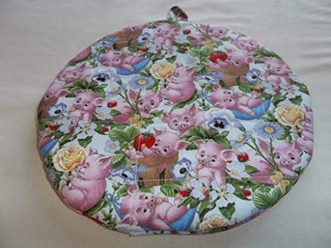 Quilted Pot Holders Hot Pads Pink Pigs Potholders Fabric Round Handmade Trivet Double Insulated Farm Animals 9 Inches