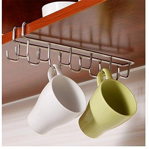 VALINK Stainless Steel Kitchen Storage Rack Cupboard Hanging Hook Shelf Dish Hanger Chest Storage shelf Bathroom Organizer Holder, Kitchen Cutlery Holders - 27x7.4cm