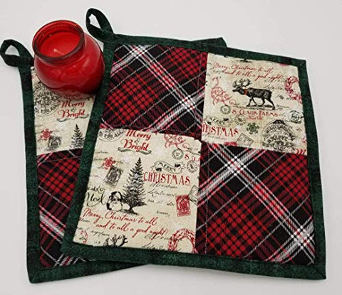 Vintage Christmas Quilted Potholders - Set of 2