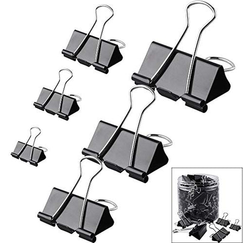 Orgrimmar Metal Paper Clip Large Medium Small Mini Black Office Binder Clips for StudentsTeachers(6 Sizes) (1 bottle-120 pcs)