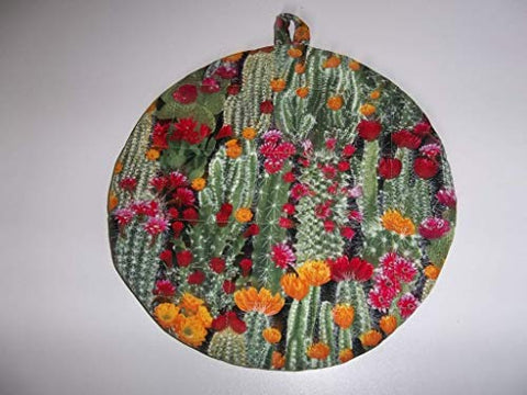 Quilted Pot Holders Hot Pads Colorful Flowering Cactus Potholders Fabric Round Handmade Trivet Double Insulated 9 Inches