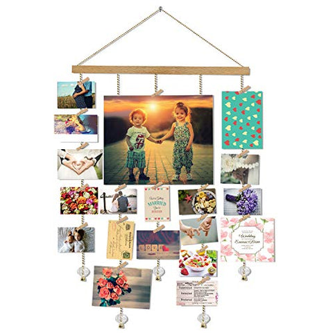 Olakee Hanging Photo Display, DIY Picture Photo Frame Collage Set Includes Wood Clips, Natural Wood, Golden Chain with Crystal Pendant 16×29 inch Natural Color