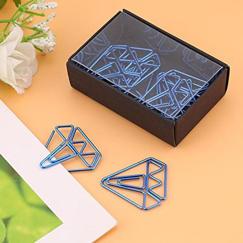 8 clips/lot Korean Stationery Hollow Out Binder Clips Water Diamond Shape Clips Notes Letter Notebook Clips Xiaolanwelc (Blue)