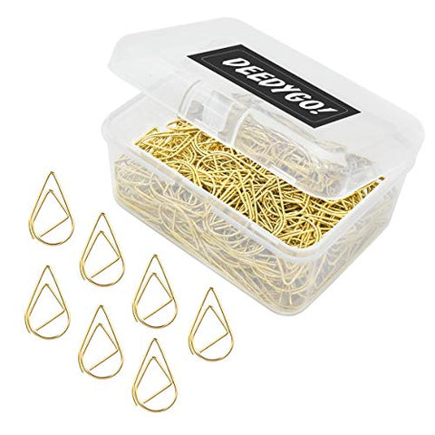 250 Pieces Gold Premium Cute Paper Clips, Smooth Stainless Steel Drop-Shaped PaperClips for Office Supplies Wedding Women Girls Kids Students (1 inch / 25 mm)