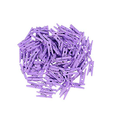 Vosarea 100PCS Clips Pictures Wood Mini Small Paper Clips Clothespin Wedding Cork Board Hanging Photos Painting Artwork Crafts - Purple