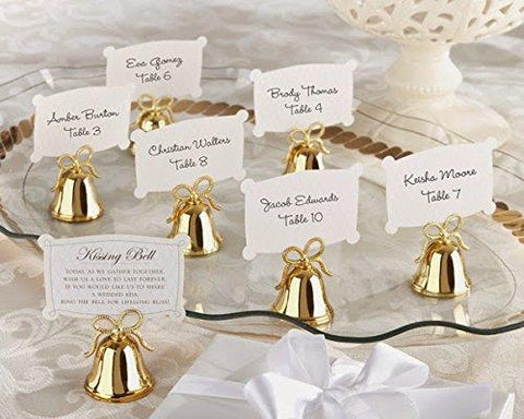 144 Gold Bow Kissing Bells Place Card Photo Holder