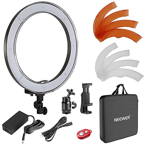 Neewer 18 inches/48 Centimeters Outer SMD LED Ring Light Dimmable Ring Lighting Kit Includes Color Filters,Rotatable Phone Holder,Ball Head and Carrying Bag for Selfie Portrait YouTube Video Shooting