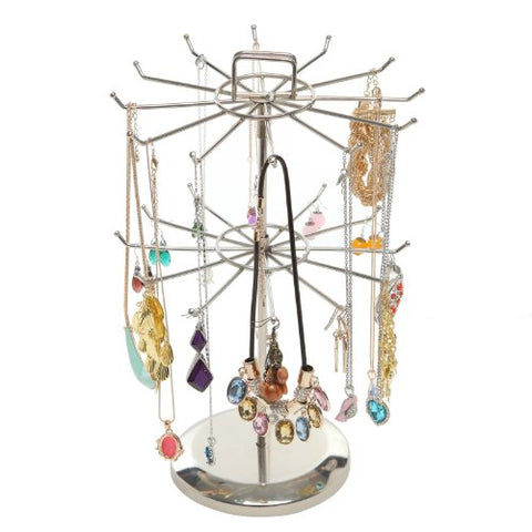 MyGift Silver Metal Jewelry Organizer Tower Necklace Tree Bracelet Display Stand w/Hairclip Holder
