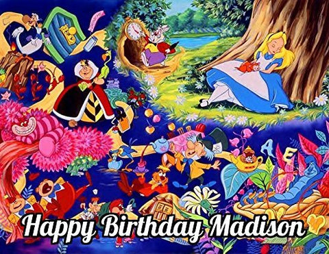Alice In Wonderland Edible Image Photo Sugar Frosting Icing Cake Topper Sheet Personalized Custom Customized Birthday Party - 1/4 Sheet - 74785