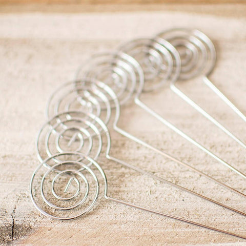 Table Number Picks, Spiral Place Card Holders, 6 in, Silver, 6 Pack