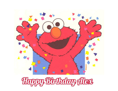 Sesame Street Elmo Edible Image Photo Cake Topper Sheet Personalized Custom Customized Birthday - 1/4 Sheet - 78097