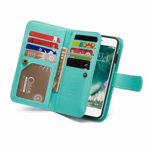 Leather Wallet Phone Case iPhone 6 Plus,iPhone 6S Plus with Built-in 9 Card Slots,Gostyle New Stripe Pattern Magnetic Detachable and Removable PU Flip Cover with Money Clip and Hand Strap(White&Green)