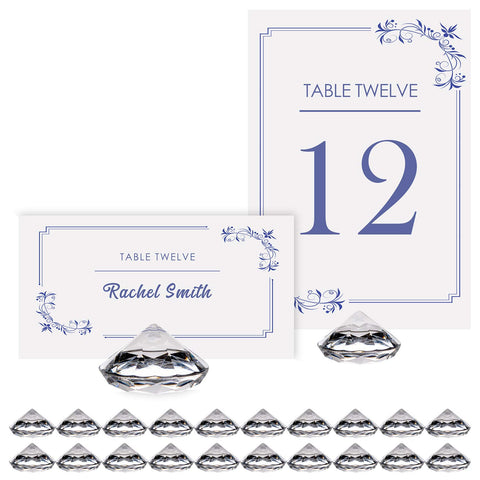 Diamond Table Number Holder & Place Card Holders [20 Pack] Sturdy, Crystal-Clear Acrylic Table Card Stands for Party & Wedding Table Decorations