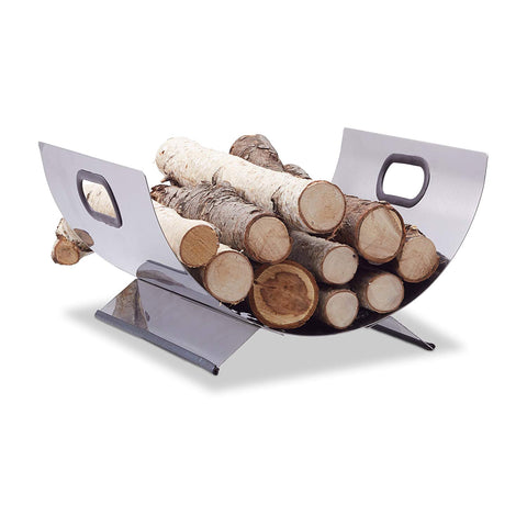 Relaxdays Stainless Steel Wood Cradle, Modern Firewood Basket, Metal Log Carrier Holder, H x W x D 19 x 37 x 33 cm, Silver