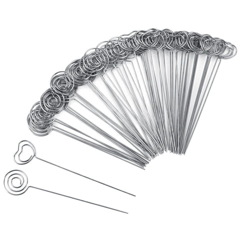 TOOGOO 60 Pieces Metal Wires Memo Clip Note Card Holders Table Number Clip Photo Stand for Wedding Party Cake Decor, Round and Heart Shape, Silvery