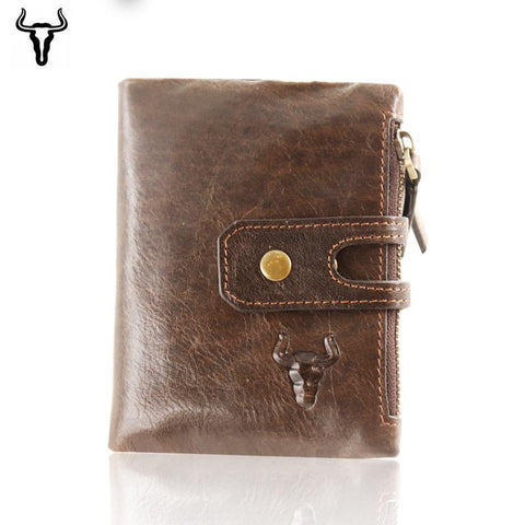 Bullcaptain Wallet Men Purse RFID Antimagnetic Vintage Genuine Leather 14 Card Slots Coin Bag High Quality Male Card ID Holder