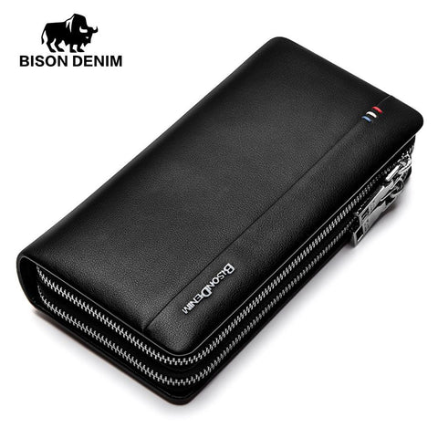 Luxury men wallets genuine leather large capacity long double zipper