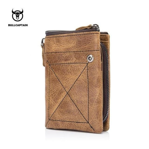 BULLCAPTAIN Genuine Cowhide  Men Wallet Short Coin Purse Small Vintage Wallet Brand High Quality Designer New Short Wallet 013