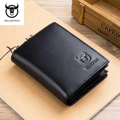 BULLCAPTAIN New Arrival Men Wallet Cowhide Coin Purse Designer Brand Wallet clutch RFID leather wallet man wallet for money