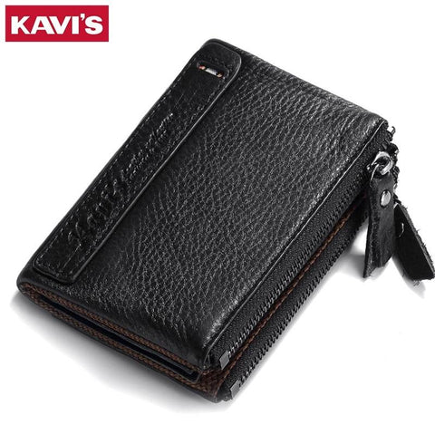 100% Genuine Leather Men Wallet Small Zipper Men Walet Portomonee Male Short Coin Purse Brand Perse Carteira For Rfid