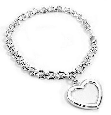 Sterling Silver Picture Frame or Locket Photo Holder on Charm Chain Bracelet