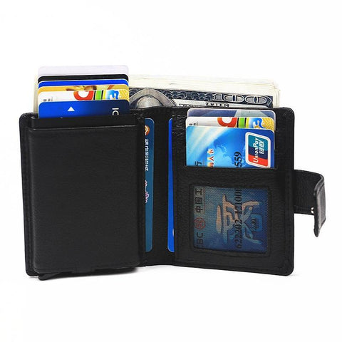 Aluminum Card Holder Box Genuine Leather Slim Thin Wallets With Coin Pocket